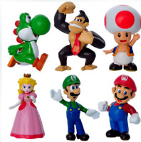 """NEW 6pcs Mini Super Mario Bros 1.5~2.5"""" Action Figures Doll Toy Gifts Excellent"""