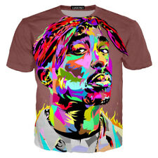 Singer Tie-dye Tupac 2pac Print 3D  T-Shirt Women Men Casual Short Sleeve Tee