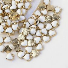 10 x White Enamel Heart Pendant Charms Gold Plated
