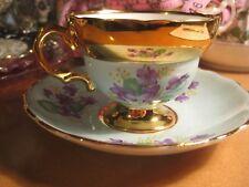 Vintage Rosina Bone china England Aqua Purple Flowers Floral Teacup saucer