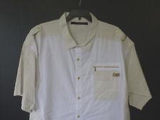 Sean John Mens Size 6XB White & Beige Classic Fit Gold Button Front Shirt New