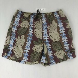 Tommy Bahama Mens L Large RELAX Swim Trunks Brown Hawaiian Floral Pull On Nylon