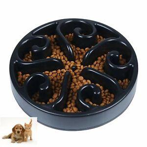 """Slow Feeder Dog Bowl Puzzle Maze Fun Foraging Cat Anti Gulp 8"""" Large BLACK"""