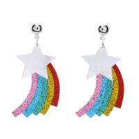 STAR RAINBOW SEQUINS PENDANT EAR STUD EARRINGS WOMEN BRINCO PARTY JEWELRY BEAUTY