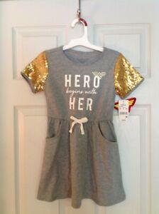 Girls DC Comic Wonder Woman Hero Begins With Her Sequin Gray Dress Size 4/5