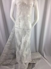 Beaded fabric - Embroidered Lace Sequin White For Bridal Veil By The Yard