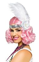 Icy Pink Curly Flapper Costume Wig Roaring 20s Carnival Festival Mardi Gras