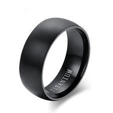 8MM Men's Black Titanium Steel Ring Wedding Engagement Anniversary Band Size 10