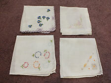 "Collectible Ladies Handkerchief Set 4 Embroidered 10"" Butterfly Floral NICE"