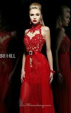 21213 Sherri Hill Red Lace Party Evening Formal Prom Gown Dress Size USA 10