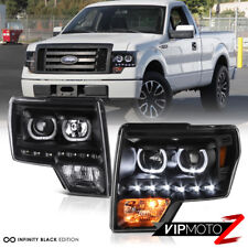 2009-2014 Ford F150 Lobo Black [H7 Projector] Halo LED DRL Headlights Headlamps