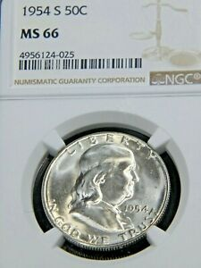 1954 S Franklin Half Dollar NGC MS66 Blast White Superb Frosty Luster PQ #G002
