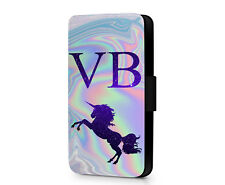 Personalised Unicorn Any Initials Stary Night Leather Phone Flip Case Cover