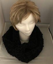 Handmade Crochet Cowl, Infinity/ Circular Loop Scarf- BLACK- NEW