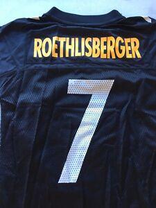 YOUTH BEN ROETHLISBERGER #7 PITTSBURGH STEELERS BLACK REEBOK JERSEY FREE SHIP