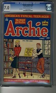 Archie Comics (1942) # 36 - CGC 7.0 Cream/OW Pages - Third Highest Graded