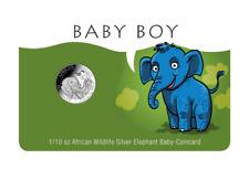 2018 Somalia 1/10 oz Silver Elephant Baby Boy Card in Plastic Case Newborn Gift
