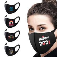 * Weihnachten Mund-Nasen-Maske waschbar Stoffmaske wiederverwendbar Schwarz Q,