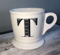 Anthropologie Monogram Mug Alphabet Letter Initial Shaving Style White Black T