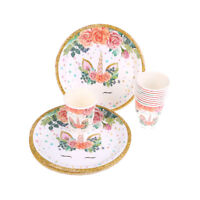 10pcs Unicorn Paper Plates/Cups Baby Shower Kids Birthday Unicorn Party De GT