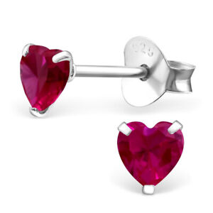 ICYROSE Sterling Silver Tiny Heart 4mm Birthstone CZ Crystal Stud Earrings 33210