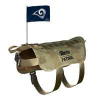 NEW LOS ANGELES RAMS DOG PET PREMIUM TACTICAL VEST HARNESS w/ TEAM FLAG