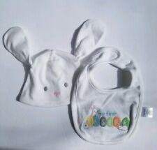 Gymboree Easter Bib (one size) & Bunny Hat (3-6 months) Set Unisex Happy Easter