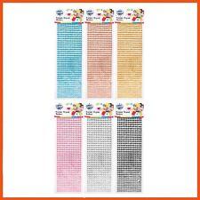 24 x RHINESTONE & PEARL STICKERS Self Adhesive Strips Craft DIY Scrapbooking