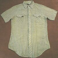 Vintage 70's Double S Western Shirt  Pearl Snaps Mens M 15.5 Rockabilly