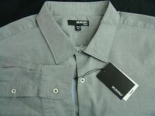 Murano Long Sleeve Button Front Shirt Gray with Blue Contrast Cuffs XL Fitted