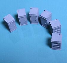 HO Portajohns, 6pc. 1:87 Scale. Gray PLA 3d print.
