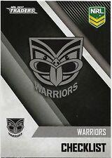 2017 NRL Traders Base Card (141) WARRIORS Check LIst