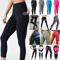 Women's High Waist Yoga Pants Pocket Fitness Sports Capri Leggings Plus Size