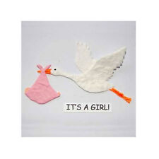 3 X IT'S A GIRL BABY ROSA CICOGNA DIE CUT Mulberry Carta rendendo ABBELLIMENTO