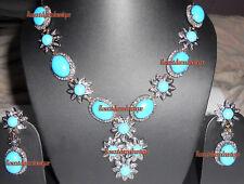 UNCUT PAVE ANTIQUE ROSE CUT DIAMOND 6.84ct TURQUOISE WEDDING PARTY NECKLACE SET