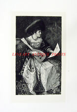 FANCY DRESS VIENNA WOMAN MUSICIAN PLAYS LUTE ~ Old 1883 SOHN Art Print Etching