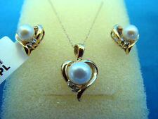 Diamond Earrings&Pendant with Pearls; 10k Yellow Gold (Chain including)