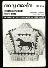 1950s MARY MAXIM No 455 NORTHLAND Sweater Pattern PRAIRIE PRANCER Child 8-10-12