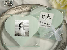 50 Sets Clear Glass White Heart Photo Coaster Bridal Wedding Favor Gift