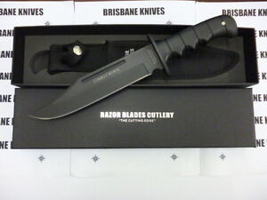 RAZOR BLADES LARGE TITANIUM COMBAT BOWIE HUNTING CAMPING KNIFE 2NDS