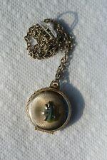 Old Vintage or Antique Coro Necklace Pendant Locket Green Stone Photos Goldtone