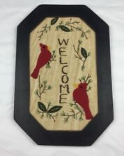 Cardinal Welcome Felt And Embroidery Framed Wall Hanging Red Welcome Birds Pine