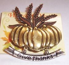 VINTAGE     ''     PUMPKINS AND WHEAT DANGLER   ''   BROOCH PIN