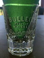Bulleit Frontier Whiskey Etched Boilermaker Shot Glass, Heavy, it weighs 7.3 oz.