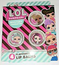 L.O.L. Surprise Dolls 4 Flavoured Lip Balms Bubble Gum, Strawberry, Blueberry