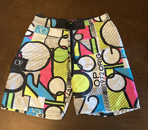 Men's OP Retro 90's Neon Green,Pink,Blue & Yellow-Board Shorts Size 34