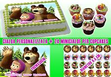 Cialda ostia x torta MASHA e L'ORSO personalizzata + 24 MINI CIALDE x capecakes