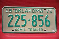 1975  OKLAHOMA  License Plate **  '75  OK  ** COM'L TRAILER