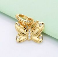 Gold Decorative Butterfly Pendant Fit Original European Bracelet Charms