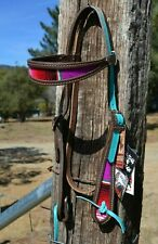 Diamond A Leather Brown/Serape Browband Headstall Turquoise Crown